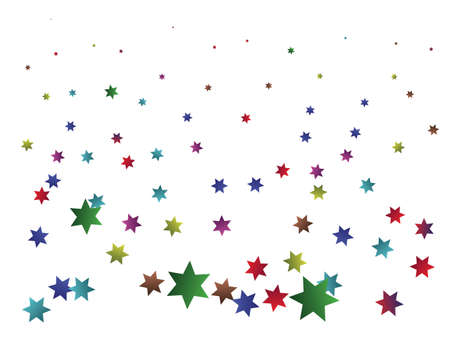 Chaotic stars on white background. Unusual design elements. Vector illustration. Multicolor elegant trendy pattern for paper packaging, greeting card, banner, invitation, postcard.