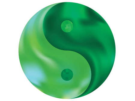 Colored background in the form of yin yang. Flat original liquid theme. Trendy soft color element. Green eco fluid template for your poster, presentation, invitation, brochure or cards.