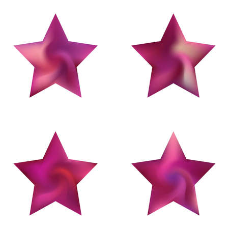 Set of pentagram colorful backgrounds. Trendy soft color polygon. Neon style of 90th, 80th. Violet elegant and effective, smooth blurred modern gradient covers. Ilustração