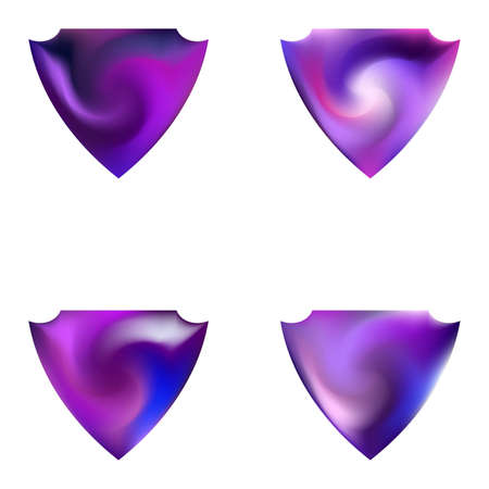 Collection of abstract backgrounds in the form of a shield. Concentric style of 80th. Trendy soft color effect. Violet smooth elegant colored, and easy editable modern gradient templates.