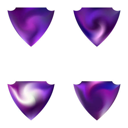 Set of smooth backgrounds in the form of a shield. Trendy soft color element. Minimal style of 80th. Violet elegant and easy editable colorful fluid covers for your creative projects. Ilustração