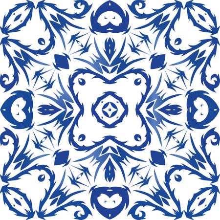 Ceramic tiles azulejo portugal. Vector seamless pattern template. Fashionable design. Blue ethnic background for T-shirts, scrapbooking, linens, smartphone cases or bags. Vetores