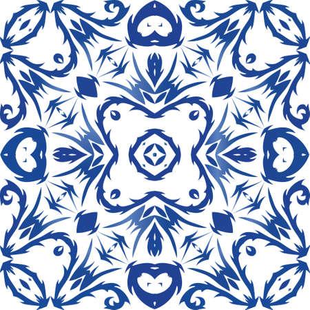Płytki ceramiczne azulejo portugalia. Szablon wektor wzór. Modny design. Niebieskie tło etniczne na koszulki, scrapbooking, pościel, etui na smartfony lub torby. Ilustracje wektorowe
