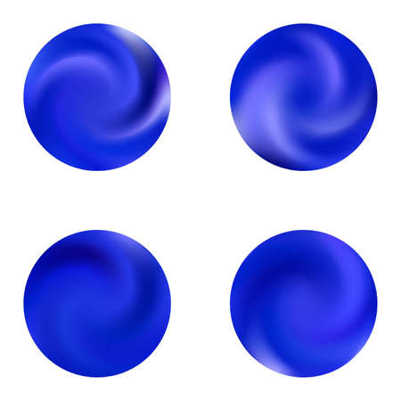 Set with modern round colorful backgrounds. Cool retro style of 80th. Trendy soft color element. Blue elegant and effective gradients, smooth blurred abstract covers.