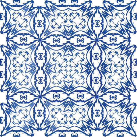 Portuguese ornamental azulejo ceramic. Fashionable design. Vector seamless pattern watercolor. Blue vintage backdrop for wallpaper, web background, towels, print, surface texture, pillows.