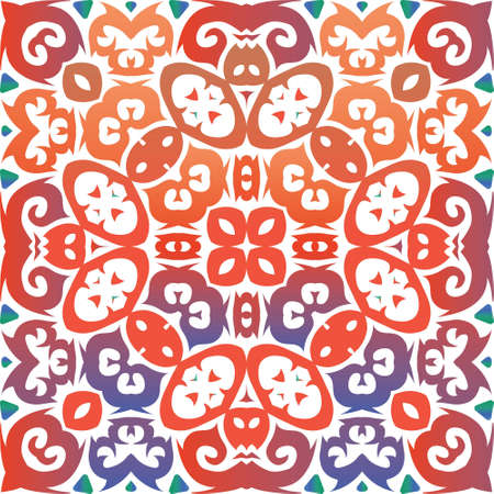 Mexican vintage talavera tiles. Vector seamless pattern texture. Graphic design. Red antique background for pillows, print, wallpaper, web backdrop, towels, surface texture.