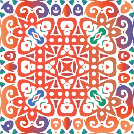 Mexican ornamental talavera ceramic. Vector seamless pattern theme. Universal design. Red vintage backdrop for wallpaper, web background, towels, print, surface texture, pillows.