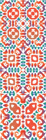 Ethnic ceramic tiles in mexican talavera. Bathroom design. Set of vector seamless patterns. Red vintage ornaments for surface texture, towels, pillows, wallpaper, print, web background.