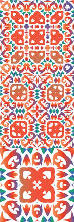 Antique talavera tiles patchworks. Collection of vector seamless patterns. Universal design. Red mexican ornamental decor for bags, smartphone cases, T-shirts, linens or scrap booking.