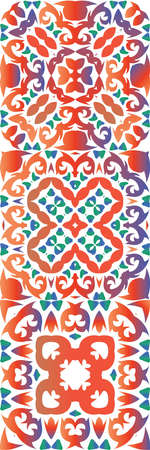 Antique mexican talavera ceramic. Kit of vector seamless patterns. Minimal design. Red floral and abstract decor for scrap booking, smartphone cases, T-shirts, bags or linens.