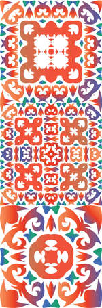 Traditional ornate mexican talavera. Collection of vector seamless patterns. Creative design. Red abstract backgrounds for web backdrop, print, pillows, surface texture, wallpaper, towels.