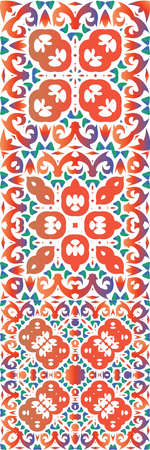 Mexican ornamental talavera ceramic. Minimal design. Kit of vector seamless patterns. Red vintage backdrops for wallpaper, web background, towels, print, surface texture, pillows.