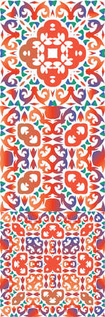 Ornamental talavera mexico tiles decor. Minimal design. Collection of vector seamless patterns. Red gorgeous flower folk prints for linens, smartphone cases, scrap booking, bags or T-shirts. Illustration