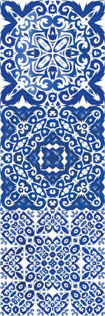 Ethnic ceramic tile in portuguese azulejo. Vector seamless pattern texture. Stylish design. vintage ornament for surface texture, towels, pillows, wallpaper, print, web background.