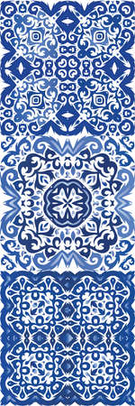 Antique portuguese azulejo ceramic. Original design. Vector seamless pattern elements. floral and abstract decor for scrap booking, smartphone cases, T-shirts, bags or linens.