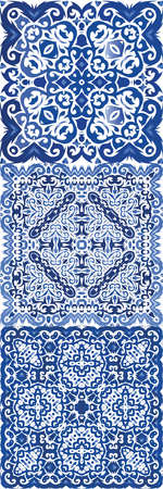 Traditional ornate portuguese azulejo. Colored design. Vector seamless pattern trellis. abstract background for web backdrop, print, pillows, surface texture, wallpaper, towels. Illustration