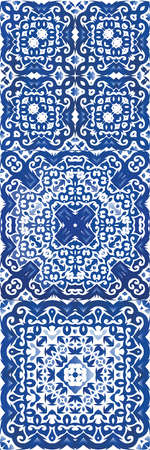 Traditional ornate portuguese azulejo. Colored design. Vector seamless pattern texture. abstract background for web backdrop, print, pillows, surface texture, wallpaper, towels.