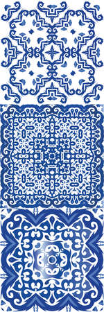 Antique azulejo tiles patchwork. Creative design. Vector seamless pattern trellis. spain and portuguese decor for bags, smartphone cases, T-shirts, linens or scrap booking.