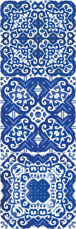 Antique portuguese azulejo ceramic. Vector seamless pattern trellis. Hand drawn design. floral and abstract decor for scrap-booking, smartphone cases, T-shirts, bags or linens. Illustration