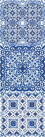 Portuguese ornamental azulejo ceramic. Stylish design. Vector seamless pattern collage. vintage backdrop for wallpaper, web background, towels, print, surface texture, pillows. Illustration