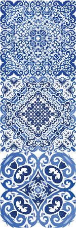 Portuguese vintage azulejo tiles. Minimal design. Set of vector seamless patterns. Blue antique backgrounds for pillows, print, wallpaper, web backdrop, towels, surface texture. Illustration