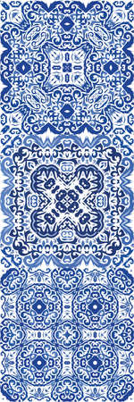Decorative color ceramic azulejo tiles. Vector seamless pattern poster. Bathroom design. folk ethnic ornament for print, web background, surface texture, towels, pillows, wallpaper.