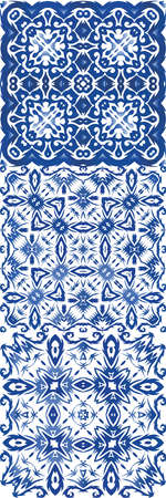Traditional ornate portuguese azulejo. Kitchen design. Vector seamless pattern elements. abstract background for web backdrop, print, pillows, surface texture, wallpaper, towels.