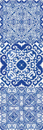 Antique portuguese azulejo ceramic. Modern design. Vector seamless pattern texture. floral and abstract decor for scrap booking, smartphone cases, T-shirts, bags or linens.