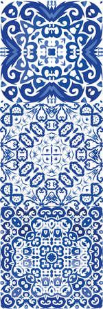 Portuguese ornamental azulejo ceramic. Vector seamless pattern elements. Bathroom design. vintage backdrop for wallpaper, web background, towels, print, surface texture, pillows.