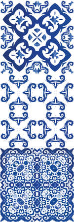 Portuguese vintage azulejo tiles. Colored design. Vector seamless pattern watercolor. antique background for pillows, print, wallpaper, web backdrop, towels, surface texture.