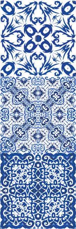 Portuguese vintage azulejo tiles. Hand drawn design. Vector seamless pattern flyer. antique background for pillows, print, wallpaper, web backdrop, towels, surface texture.
