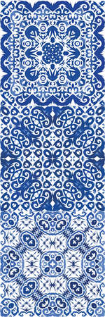 Decorative color ceramic azulejo tiles. Vector seamless pattern poster. Graphic design. folk ethnic ornament for print, web background, surface texture, towels, pillows, wallpaper. Illustration