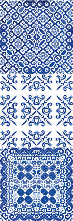 Traditional ornate portuguese azulejo. Hand drawn design. Vector seamless pattern collage. abstract background for web backdrop, print, pillows, surface texture, wallpaper, towels.