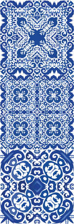 Ethnic ceramic tile in portuguese azulejo. Stylish design. Vector seamless pattern texture. vintage ornament for surface texture, towels, pillows, wallpaper, print, web background.