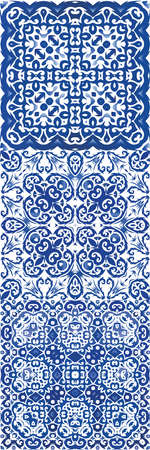 Ethnic ceramic tile in portuguese azulejo. Vector seamless pattern poster. Minimal design. vintage ornament for surface texture, towels, pillows, wallpaper, print, web background. Illustration