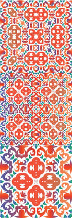 Ethnic ceramic tiles in mexican talavera. Kitchen design. Kit of vector seamless patterns. Red vintage ornaments for surface texture, towels, pillows, wallpaper, print, web background.