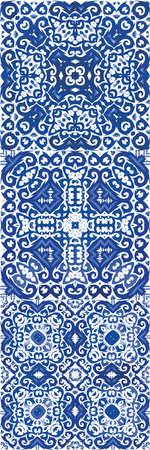 Décor ornemental de tuiles portugaises azulejo. Ensemble de modèles sans couture de vecteur. Conception dessinée à la main. Imprimés folkloriques de fleurs magnifiques bleues pour le linge de maison, les étuis pour smartphone, le scrapbooking, les sacs ou les t-shirts. Vecteurs