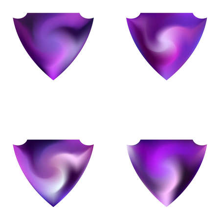 Collection of abstract backgrounds in the form of a shield. Isolated style of 80th. Trendy soft color effect. Violet smooth elegant colored, and easy editable modern gradient templates.