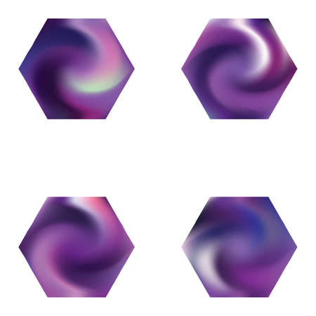 Kit of hexagonal blurred backgrounds. Trendy soft color effect. Creative style of 90th, 80th. Violet modern abstract covers for your graphic design or creative projects.