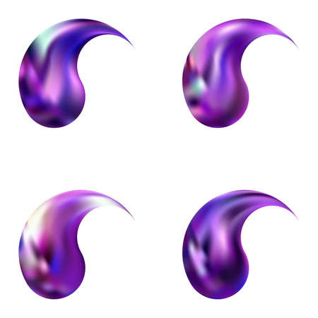 Kit of abstract backgrounds with yin or yang. Trendy soft color illustration. Holographic original east style. Violet smooth elegant colored, and easy editable modern gradient templates.