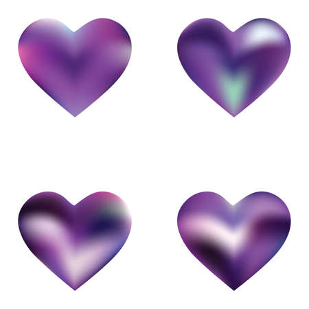 Kit of modern backgrounds hearts. Soft color logo. Futuristic fashion style of 90th, 80th. Violet fluid colorful gradient shapes for your mobile app and screens.