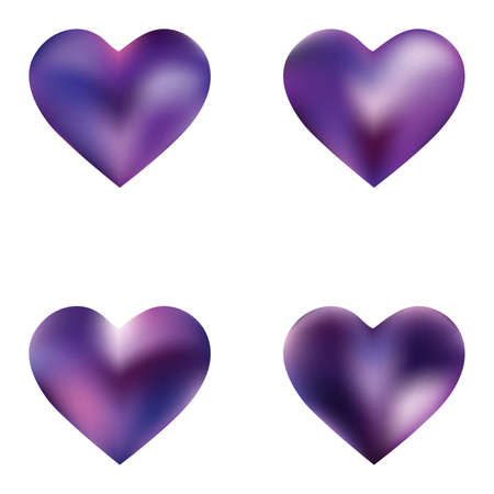 Set of colored backgrounds hearts. Cool fashion style of 90th, 80th. Soft color effect. Violet eco fluid template for your poster, presentation, invitation, brochure or cards.