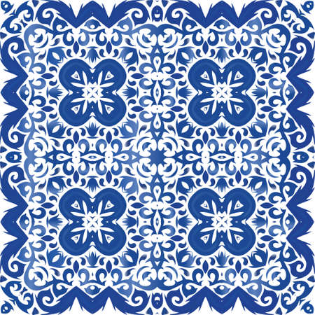 Ceramic tiles azulejo portugal. Vector seamless pattern texture. Stylish design. Blue ethnic background for T-shirts, scrapbooking, linens, smartphone cases or bags. Stock Illustratie