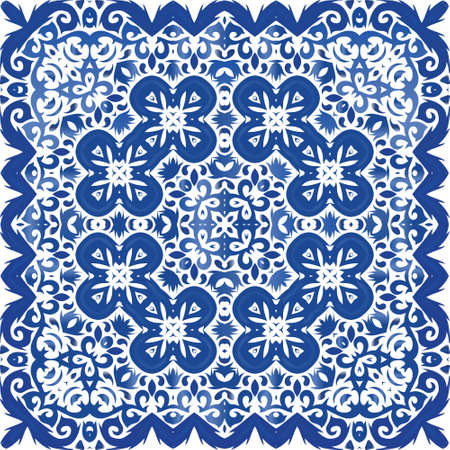 Ethnic ceramic tile in portuguese azulejo. Vector seamless pattern illustration. Creative design. Blue vintage ornament for surface texture, towels, pillows, wallpaper, print, web background.