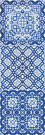 Portuguese vintage azulejo tiles. Graphic design. Set of vector seamless patterns. Blue antique backgrounds for pillows, print, wallpaper, web backdrop, towels, surface texture.