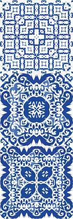 Portuguese vintage azulejo tiles. Minimal design. Collection of vector seamless patterns. Blue antique backgrounds for pillows, print, wallpaper, web backdrop, towels, surface texture.