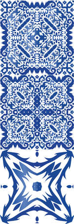 Ornamental azulejo portugal tiles decor. Stylish design. Set of vector seamless patterns. Blue gorgeous flower folk prints for linens, smartphone cases, scrapbooking, bags or T-shirts.