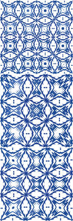 Traditional ornate portuguese azulejos. Fashionable design. Set of vector seamless patterns. Blue abstract backgrounds for web backdrop, print, pillows, surface texture, wallpaper, towels. Stock Illustratie