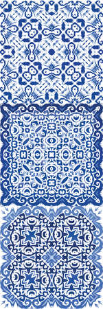 Traditional ornate portuguese azulejos. Geometric design. Set of vector seamless patterns. Blue abstract backgrounds for web backdrop, print, pillows, surface texture, wallpaper, towels.