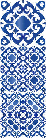 Portuguese vintage azulejo tiles. Kitchen design. Collection of vector seamless patterns. Blue antique backgrounds for pillows, print, wallpaper, web backdrop, towels, surface texture.